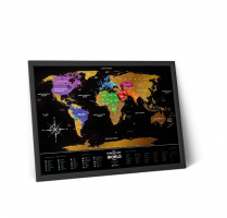 Travel Map Black World